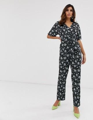 Yumi floral print wrap jumpsuit