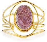 Devon Leigh Open Druzy Agate Wire Cuff Bracelet, Gold