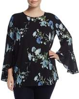 VINCE CAMUTO Plus Windswept Bouquet Bell-Sleeve Blouse
