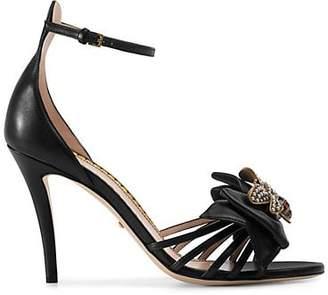 Gucci Women's Embellished Leather Ankle-Strap Sandals - Black