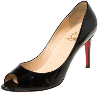 Christian Louboutin Black Patent Leather Flo Peep Toe Pumps Size 38