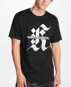 Karl Lagerfeld Paris Men's Shiny Irridescent Gothic Logo Print T-shirt