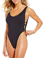 LaBlanca La Blanca Anniversary Suit Solid Two-Button High Leg Tummy Toner One-Piece