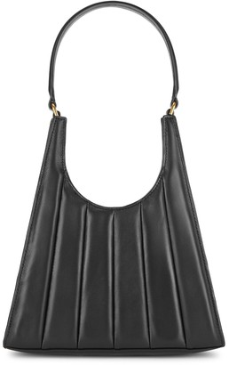 STAUD Rey black quilted leather top handle bag