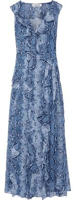 Diane von Furstenberg Lacey Ruffled Printed Silk-georgette Maxi Wrap Dress