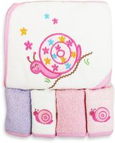 SpaSilk Baby Snail 5-Piece Terry Hooded Towel and Washcloth Set in Pink