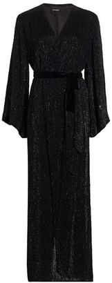 retrofete Janet Glittered Stripe Faux-Wrap Dress