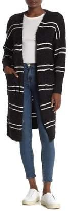 HYFVE Block Stripe Fuzzy Open Cardigan
