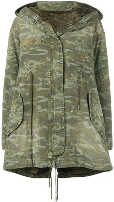 Mr & Mrs Italy Camouflage Print Mid-Length Parka