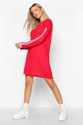 boohoo Long Sleeve contrast Stripe T-Shirt Dress