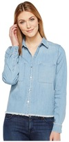 7 For All Mankind Step Hem Denim Shirt in Skyway Authentic Blue Women's Long Sleeve Button Up