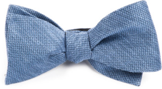 Tie Bar Festival Textured Solid Slate Blue Bow Tie