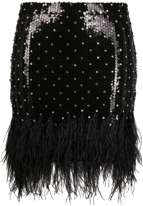 Amen Feather-Trimmed Sequin Mini Skirt