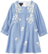 Oscar de la Renta Embroidered Silk-Blend Dress