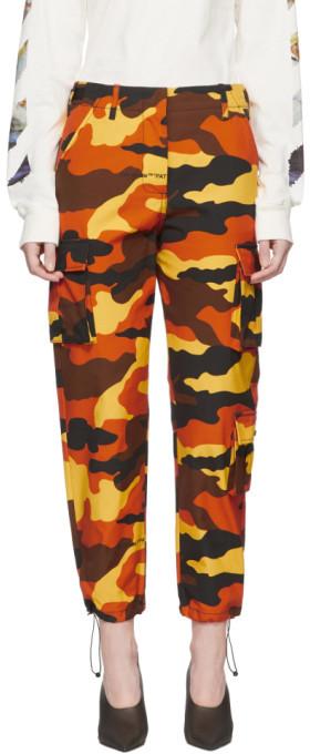 Off-White Orange Camouflage Cargo Trousers
