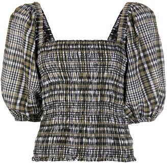Ganni Check-Pattern Blouse