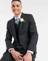 Asos Design DESIGN slim suit jacket in 100% wool Harris Tweed in charcoal herringbone