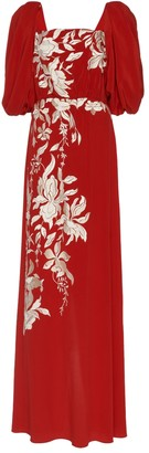 Floral Themes Embroidered Silk Maxi Dress