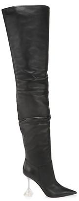 Amina Muaddi Olivia Thigh-High Leather Boots