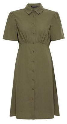 Dorothy Perkins Womens Khaki Empire Seam Shirt Dress, Khaki