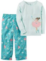 Carter's Girls 4-14 Applique Striped Top & Pattern Bottoms Pajama Set