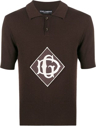 Dolce & Gabbana Monogrammed Knitted Polo Shirt