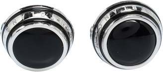 Montblanc Silver Tone Black Onyx Inlay Cufflinks