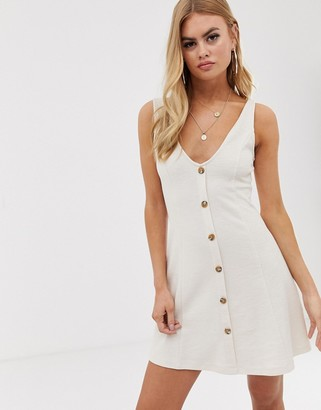 Asos Design DESIGN mini jersey knit button through dress-Cream