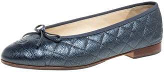 Chanel Metallic Grey Quilted Caviar Leather CC Bow Cap Toe Ballet Flats Size 39.5