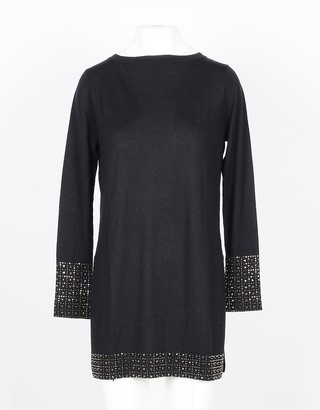 Snobby Sheep Black Silk and Cashmere Blend Women's Long Sweater