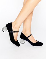 Carvela Greatest Mary Jane Embellished Mid Heeled Shoes