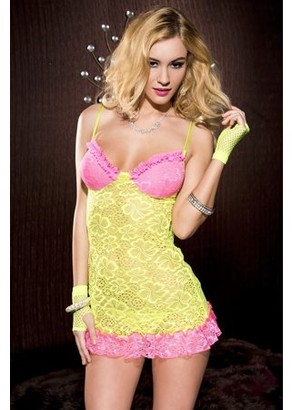 Music Legs Lace chemise with contrast ruffle trim and keyhole back 56073-NYELLOW/PINK