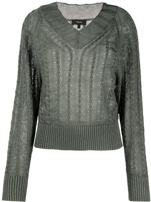 Theory cable knit V-neck jumper