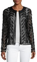 Bagatelle Leather Leaf-Trimmed Sheer Organza Jacket, Black