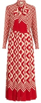 Gucci Long-sleeved geometric-print silk dress