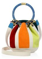 Edie Parker Small Olivia Striped Suede & Linen Bucket Bag