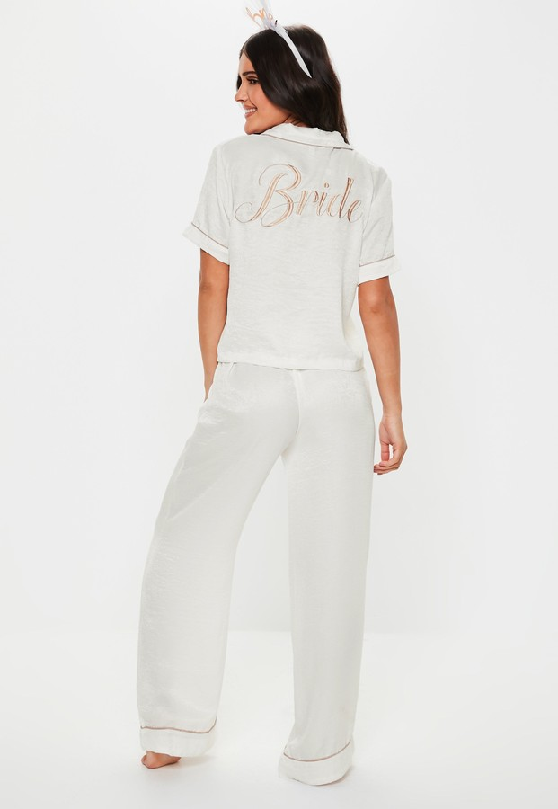 Thumbnail for your product : Missguided White Satin Bride Short Sleeve Trouser Pyjama Set