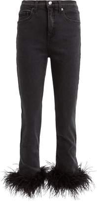Veronica Beard Kareena Feather-Trimmed Skinny Jeans