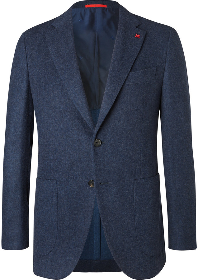Isaia Navy Slim-Fit Brushed Wool and Cashmere-Blend Blazer