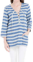 Max Studio Lace-Up Striped Tunic Tpp