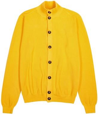 Eleventy Yellow Fine-knit Cotton Cardigan