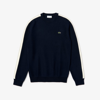 Lacoste Men's Crewneck Quilted-Sleeve Cotton Pique Sweater