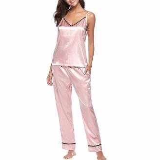 Dicomi Women Sleepwear Sleeveless Strap Nightwear Lace Trim Satin Cami Top Home Pajama Sets Pink