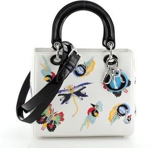 Christian Dior Animals Lady Bag Embroidered Calfskin Medium