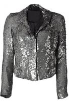 Silver All Over Sequined Short Jacket