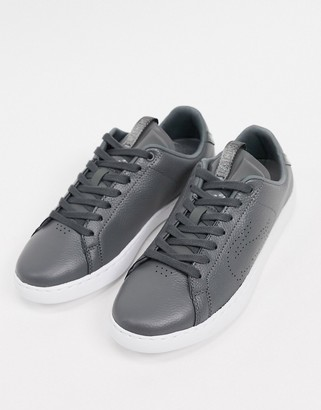 Lacoste carnaby leather lace up trainers in grey