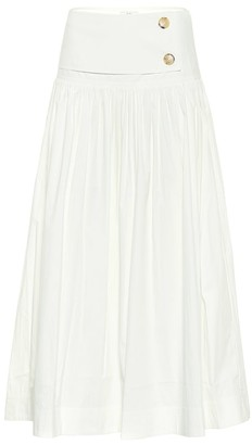 Co High-rise cotton-blend midi skirt