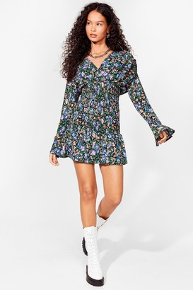Nasty Gal Womens I Seed You Now Floral Mini Dress - Black - 4, Black