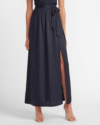 Express High Waisted Tie Front Slit Maxi Skirt