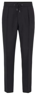 BOSS Relaxed-fit cropped trousers with drawstring waist